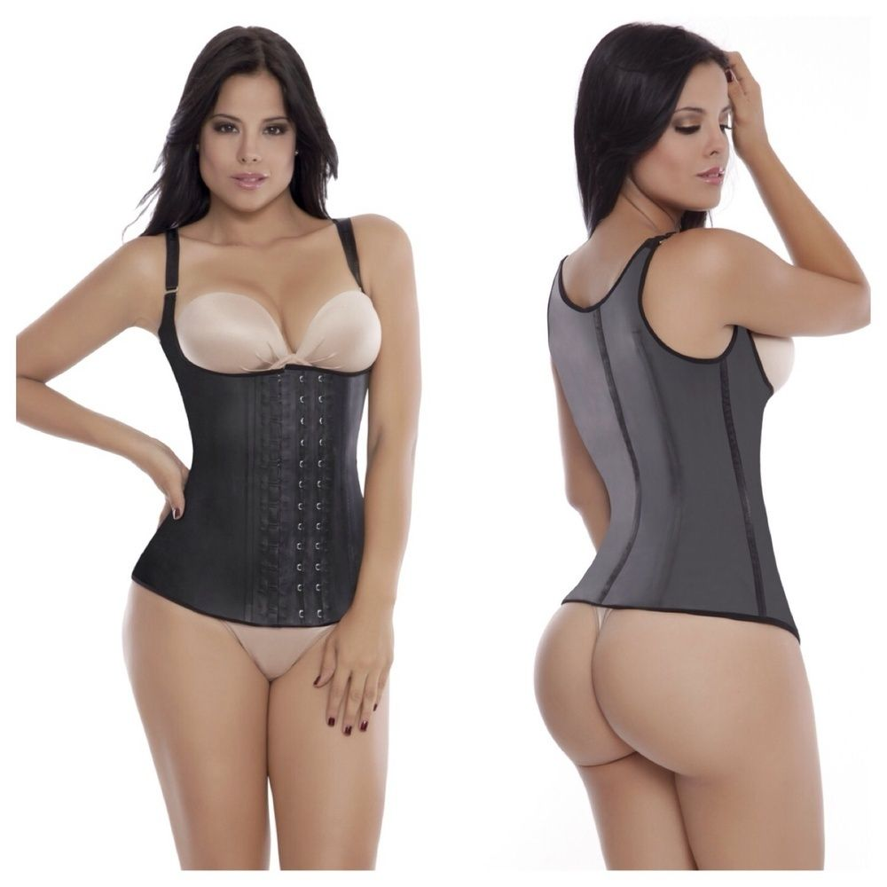 The Ultimate Waist Training Latex Vest With 2 Rows Of Hooks For