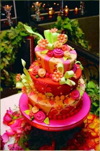 Wedding Cake Orange Pink Green