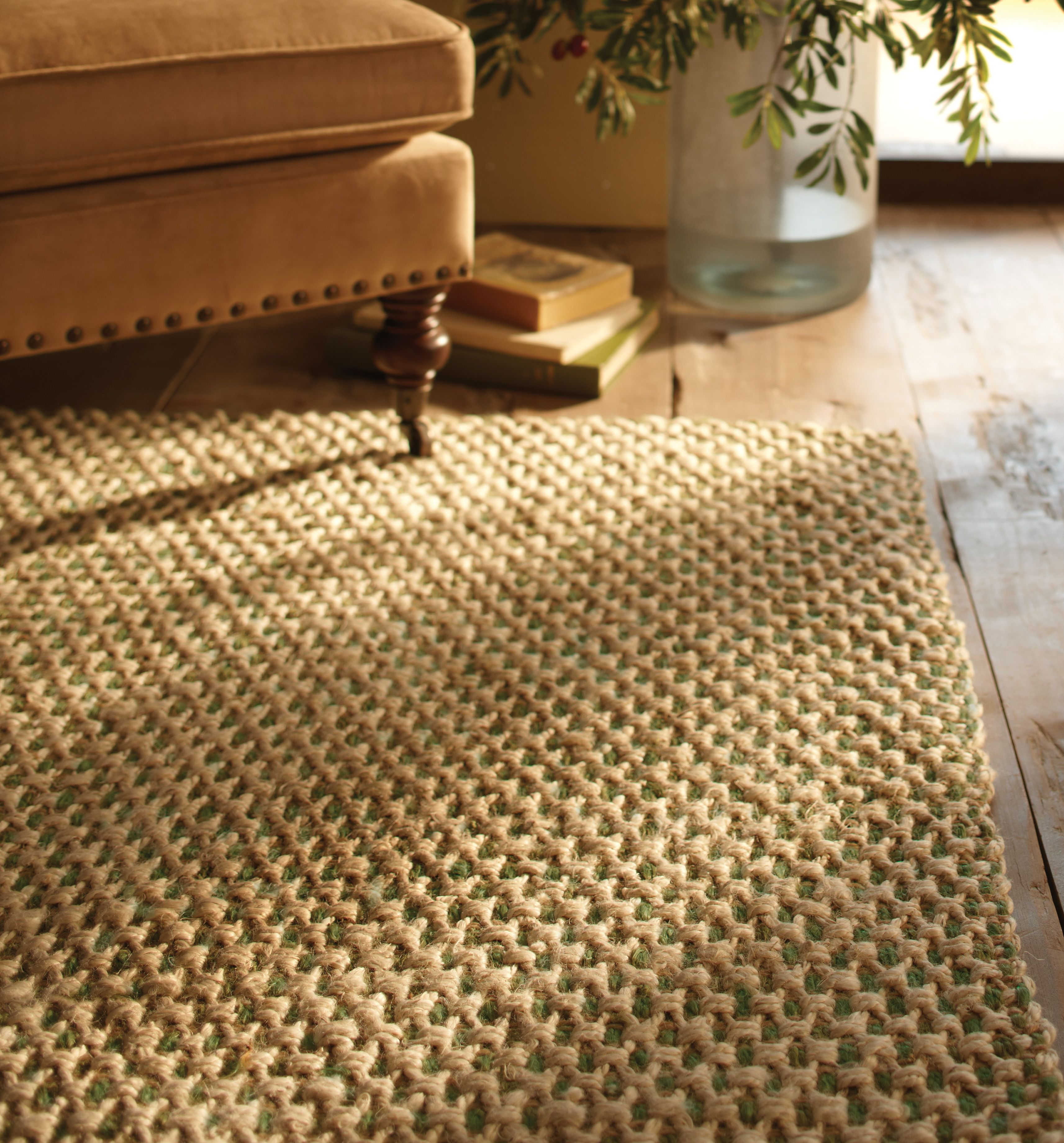 Hand Woven Jute Pairs Perfectly With A Dark Hardwood Floor