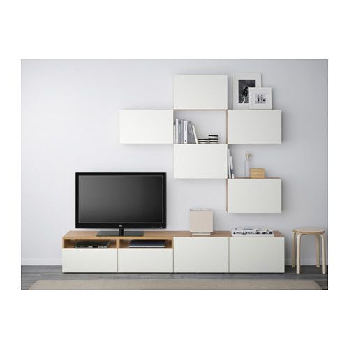 Bestå tv storage combination oak effect lappviken white 240x20 40x204 cm ikea