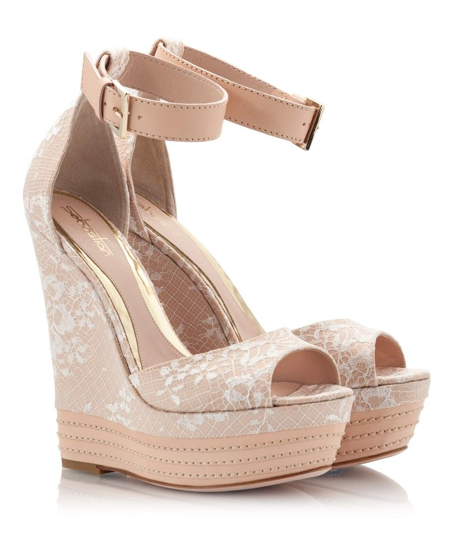 wedding shoes wedges Zapatos de muje Womens Shoes nude leather with lace wedge