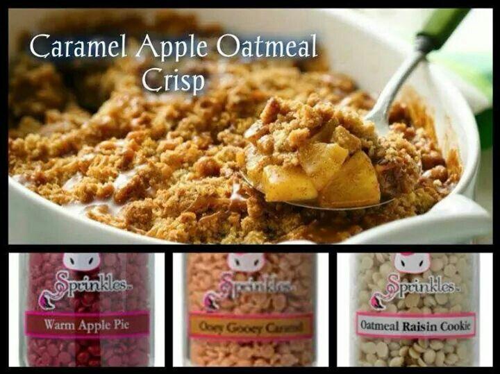 """Caramel Apple Oatmeal Crisp"" 1/3 Warm Apple Pie, 1/3 Ooey Gooey Caramel, 1/3 Oatmeal Raisin Cookie  www.pinkzebrahome.com/KatieSprinkles  #PinkZebra #Sprinkles #Recipes"
