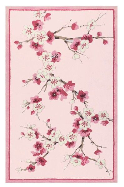 Bring the outdoors inside with the #Sakura Cherry Blossom Area #Rug.  #cherryblossom #pinkrug