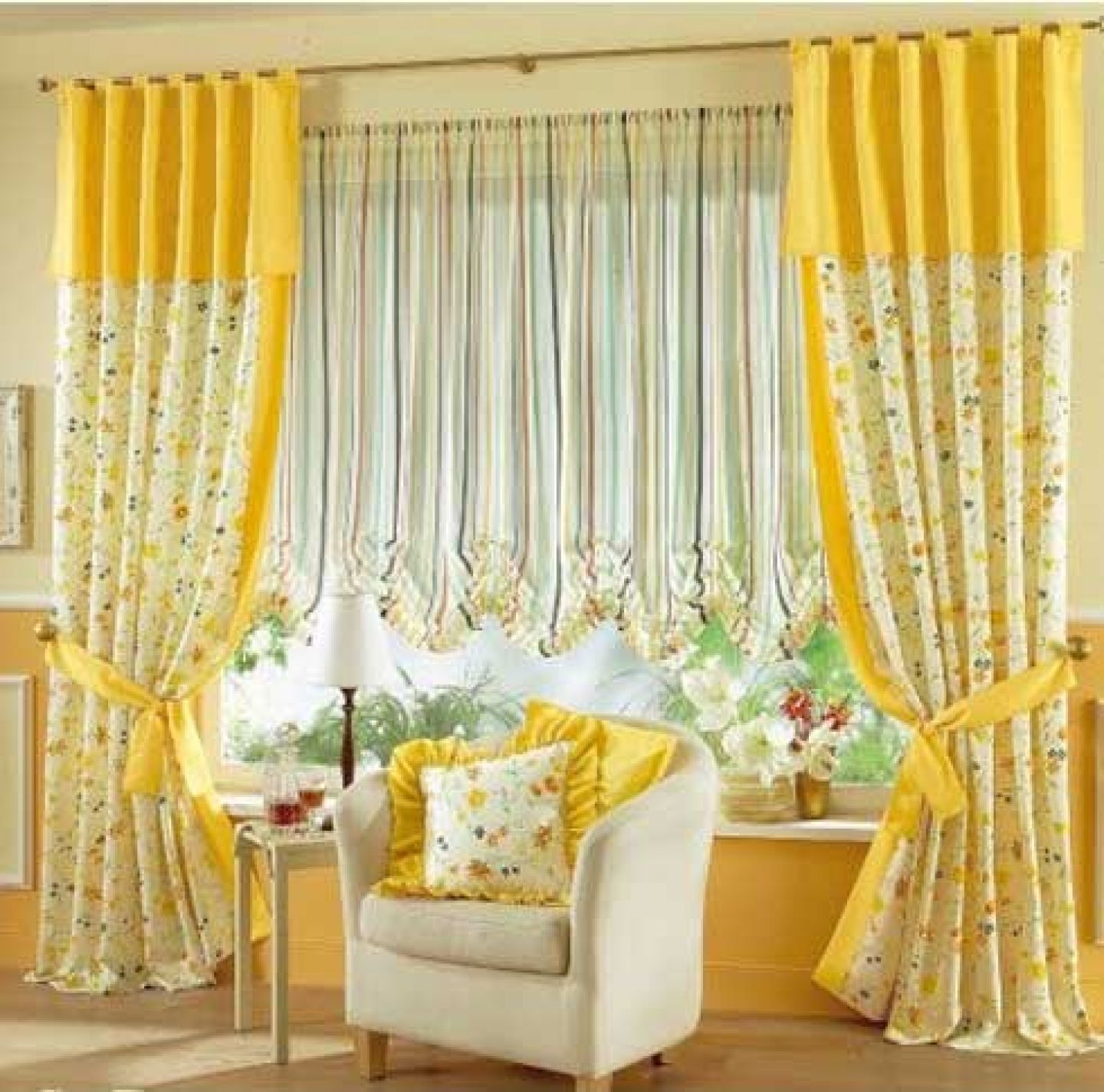Interior Vibrant Yellow Window Curtain Designs For Living Room Curtain -  pictures, photos, images