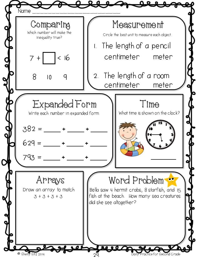 Morning Work Freebie for 2nd grade   2nd grade math worksheets [ 1056 x 816 Pixel ]