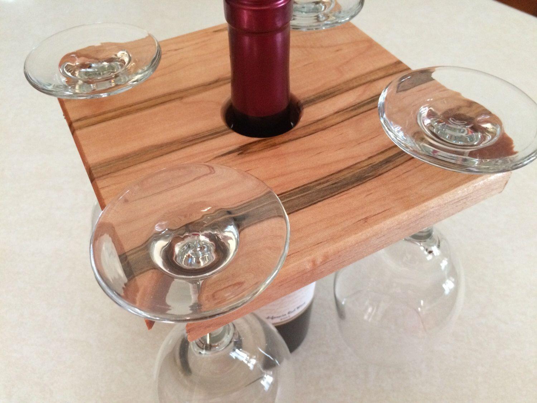 Maple wine caddy rack wood wine glass rack stained custom caddie