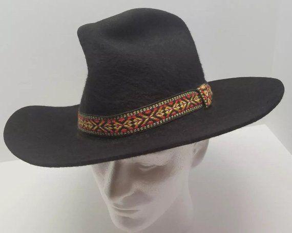 9c513b7517b Vintage Authentic Western Trails Shag Black Prime Felt Mens Cowboy Hat Size  7 Retro Rare Estate Coll