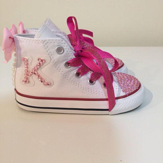 b1912223de8f White and Pink Rhinestone Converse Shoes