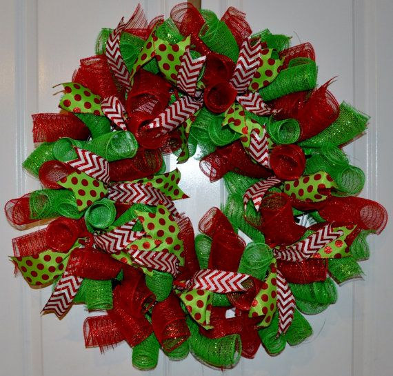 red and green curly mesh christmas wreath on etsy 4000 - Christmas Wreaths Etsy