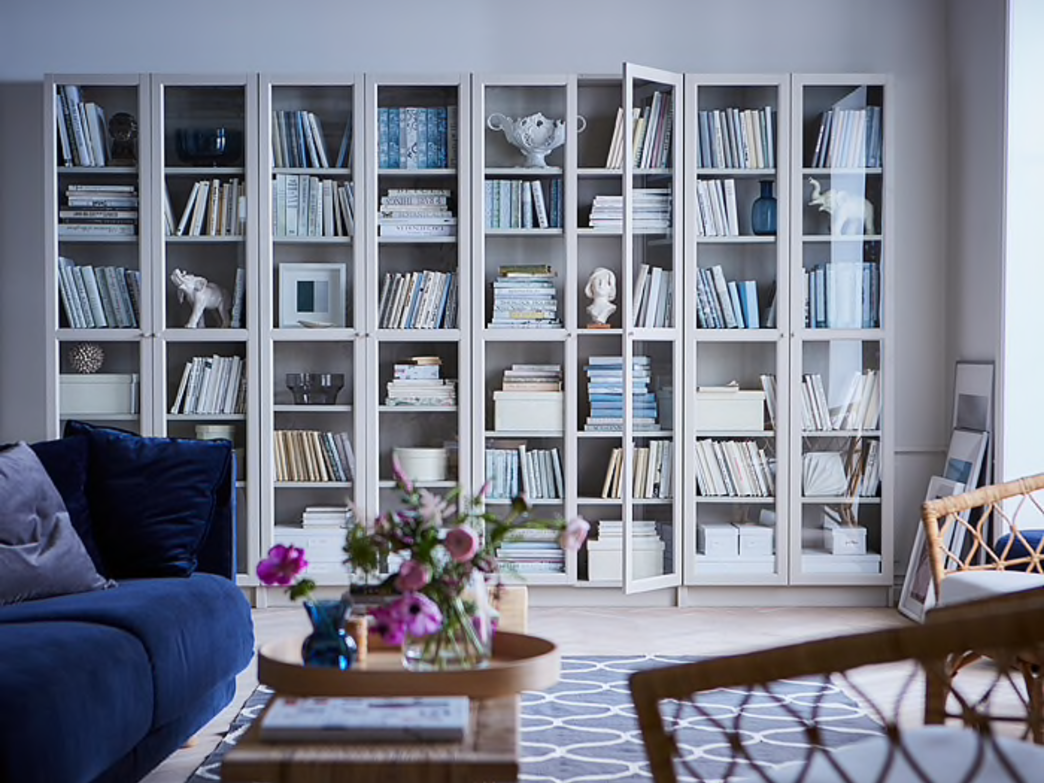 Billy Bookcase With Oxberg Doors From Ikea Bookshelves In Living Room Bookcase Design Modern Bookcase