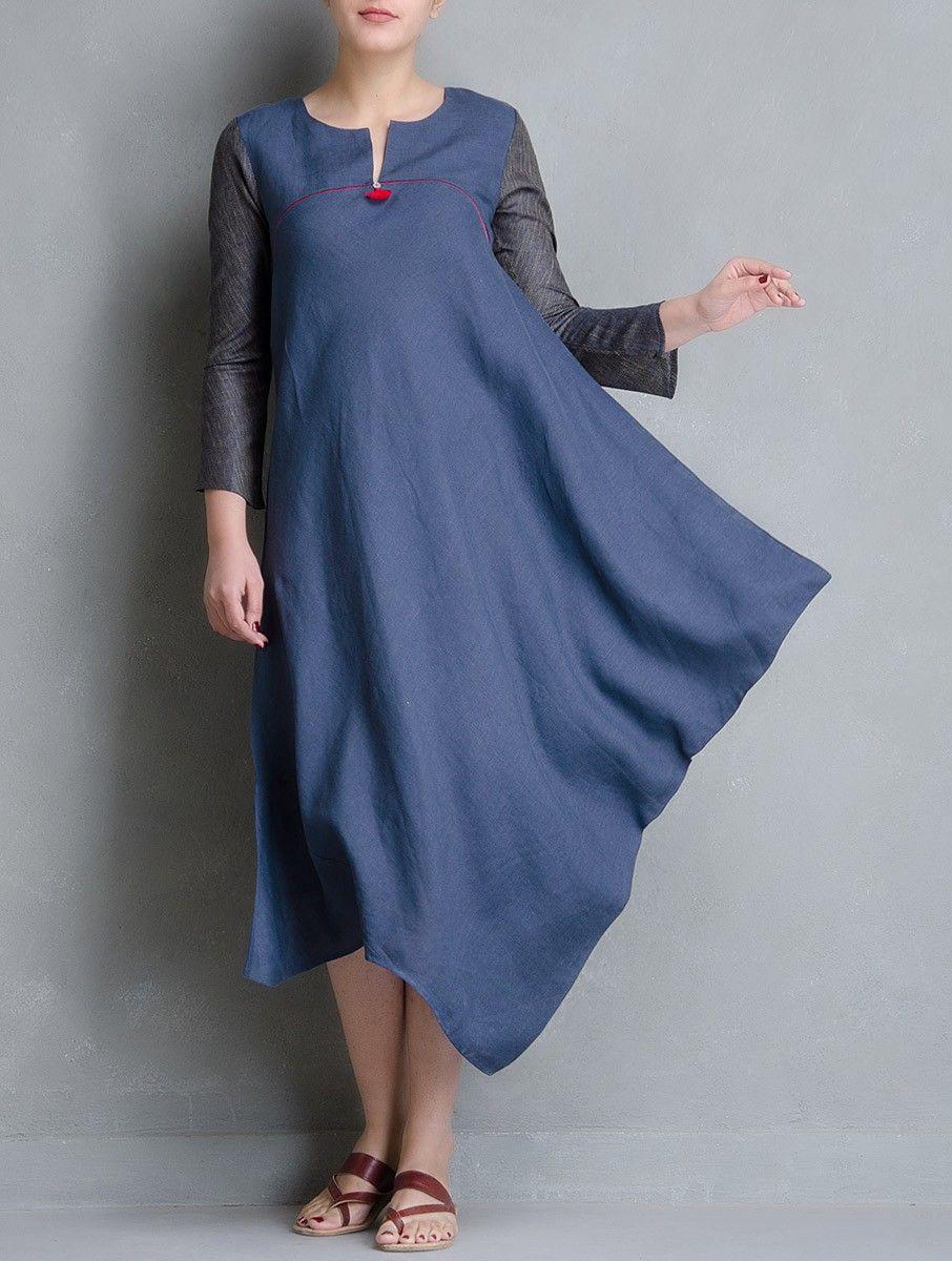 Buy blue side cowl matty linen dress online linen dresses dress