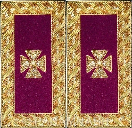 Knight Templar Past Grand  Commander  Shoulder Straps Golden Bullion