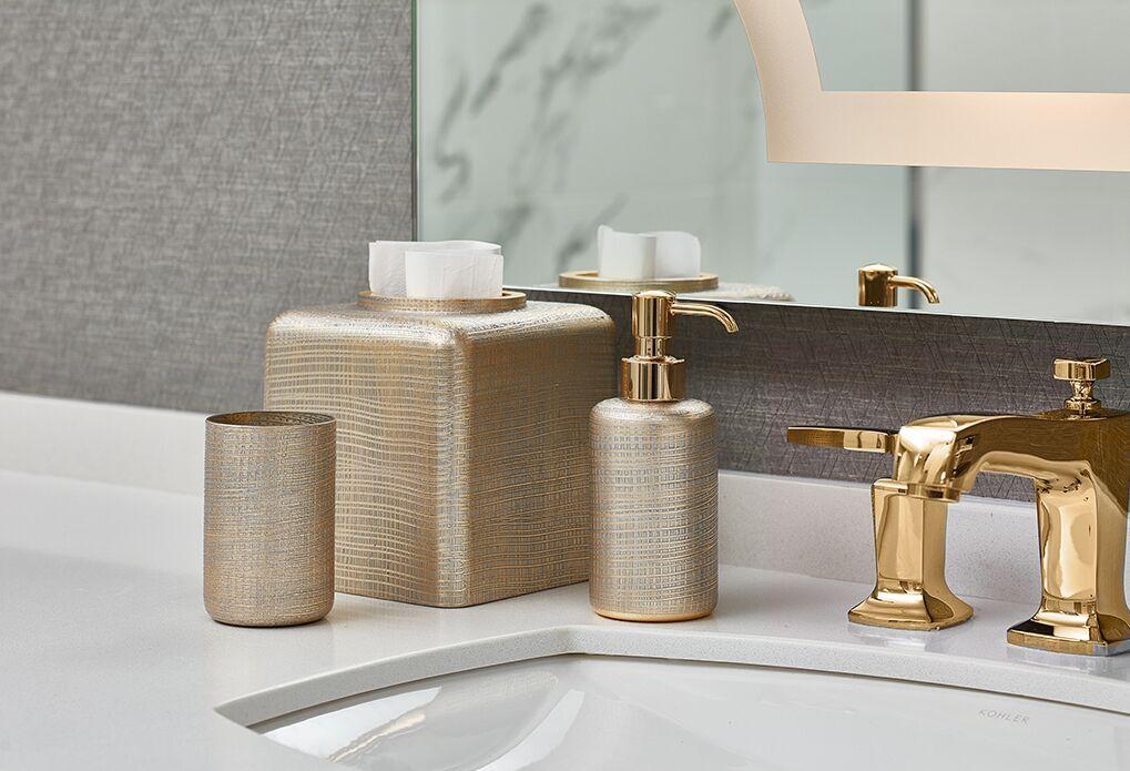 Luxury Bath Accessories Woven Gold Luxurybathdecor Luxurybathdesign Beautifulbath Interiorandhome Bathroomdesign Bathroombaths Bathdecor Elegantbath