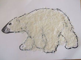 Textured Polar Bear with Coconut Flakes Obviously need to swap these for penguins, but like the idea.