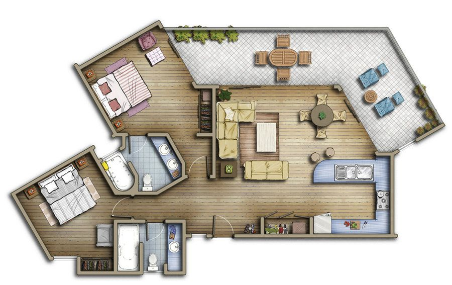 Floorplan From One Of The Units In The Brookside Downtown