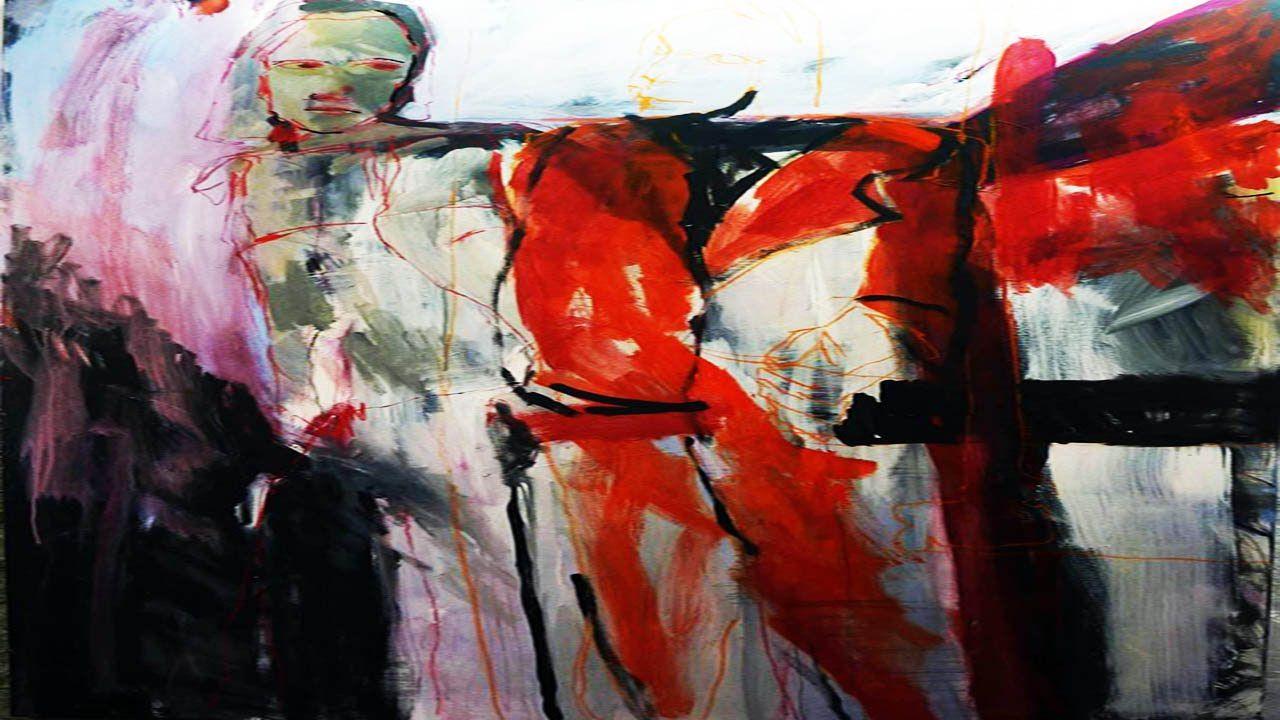 Acrylmalerei, Abstrakt, Figurativ,Raum, Kohlestift,Pastellkreide,Bleisti...