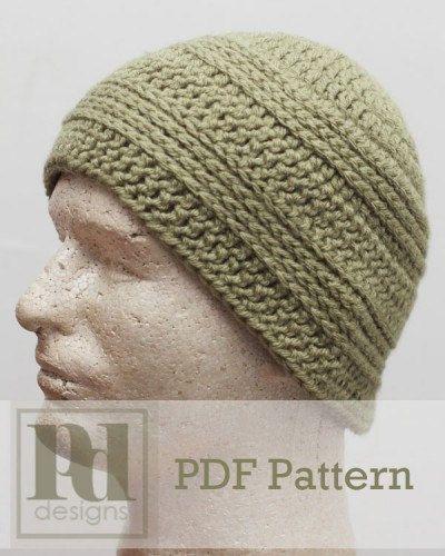 Mens Knit Look Beanie Hat Crochet Pdf Pattern By Pddesignscrochet