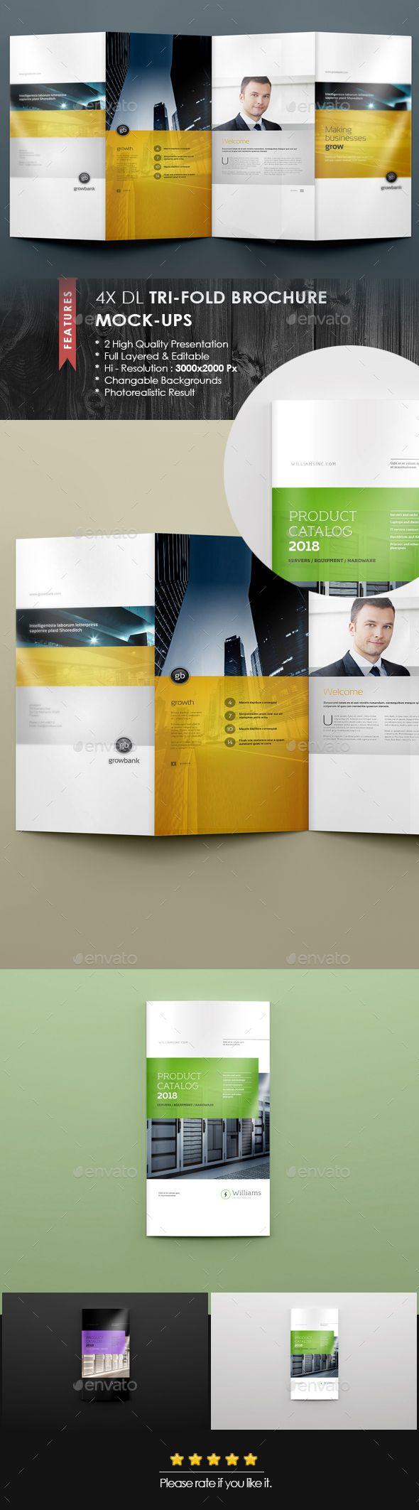 4xdl Double Gate Fold Brochure Mock Up 6 Print Mockup Brochure Graphic Design Templates