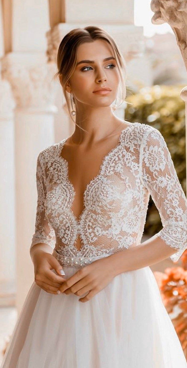 Bohemian boho long sleeves wedding dress ivory blush light