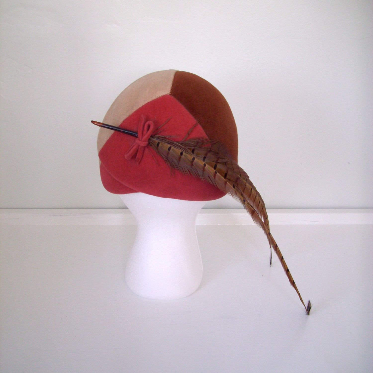 1940s 1950s Tri Color Cocktail Hat Fascinator with Pheasant Feather. $40,00, via Etsy.