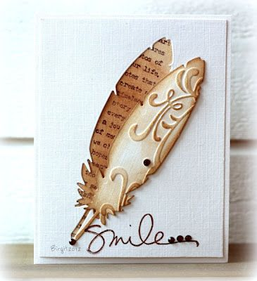 What a beautiful card by Birgit! The smile stamp is from Favorite Memories from Ali Edwards (available on TechniqueTuesday.com).
