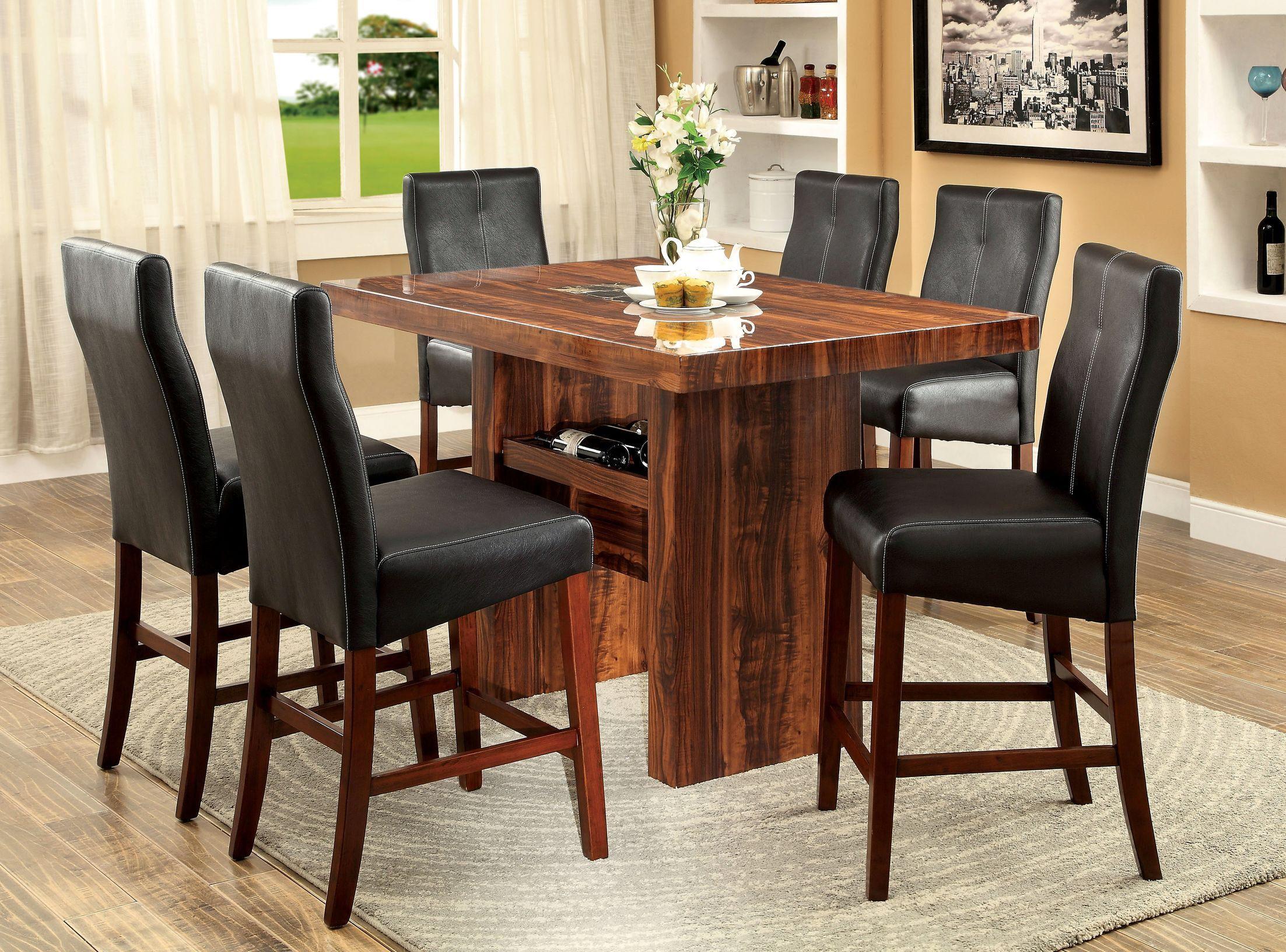 carroll 7 piece solid wood dining set  pub dining set