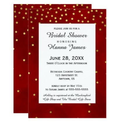 Red gold stars confetti wedding invitation red gold stars confetti wedding card wedding invitations cards custom invitation card design marriage party stopboris Images