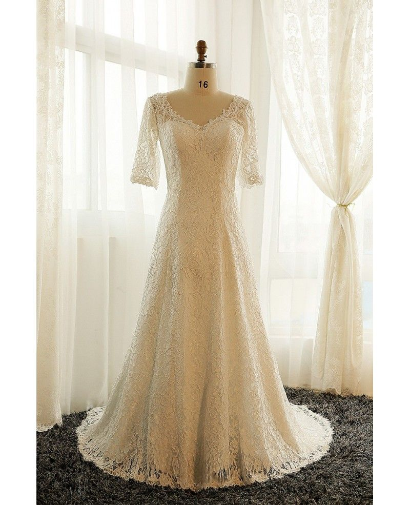 Best plus size lace wedding dress with sleeves ivory full lace
