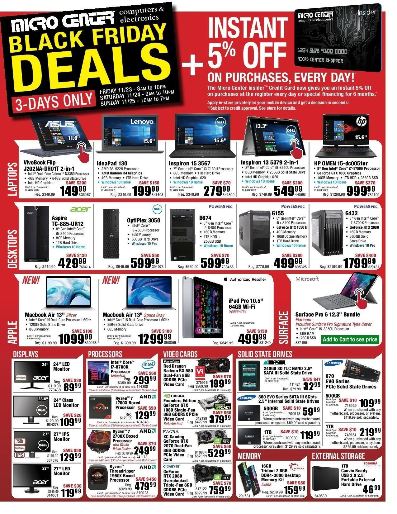 Micro Center 2019 Black Friday Ad Black Friday Ads Black Friday Cyber Monday Stores