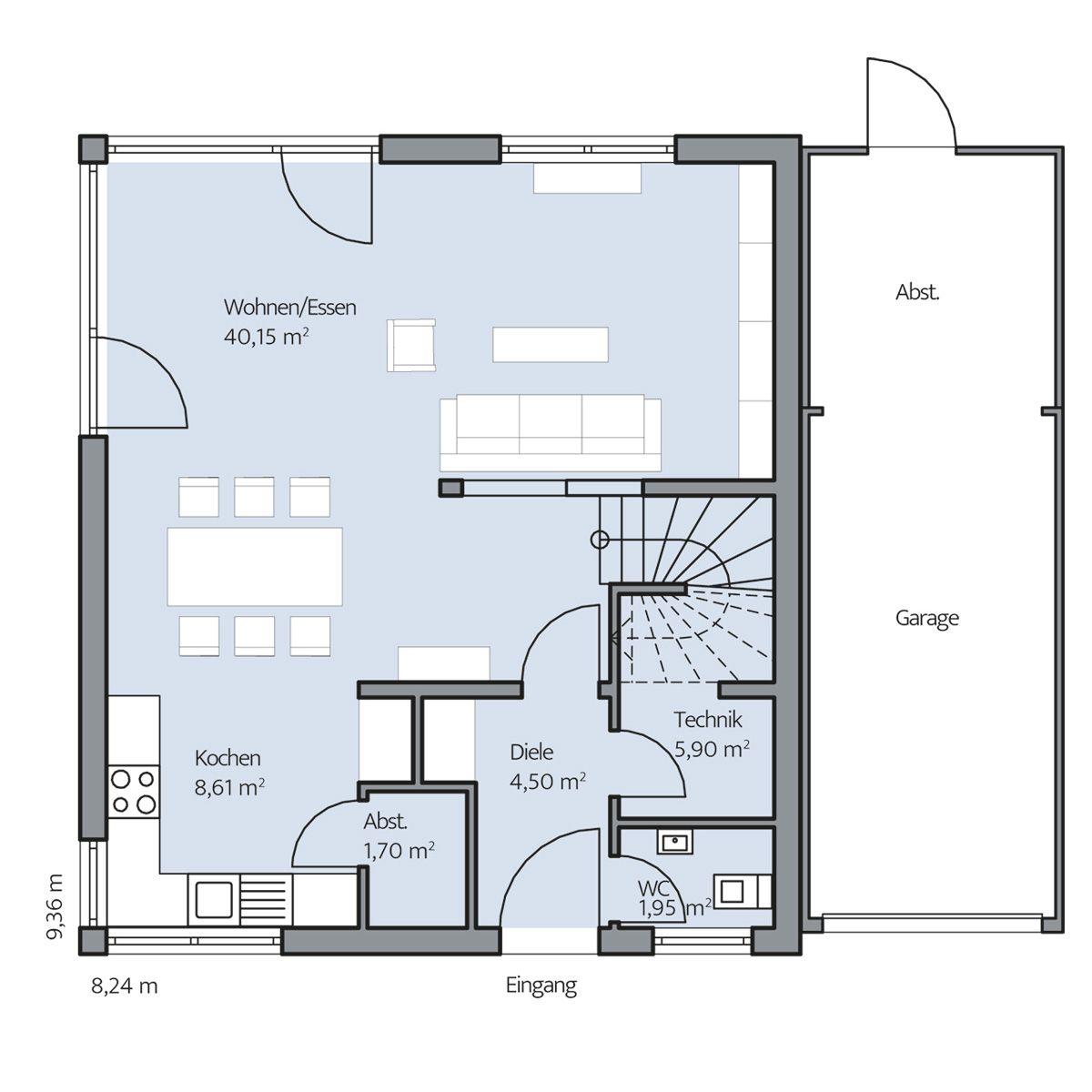 Haus escher erdgeschoss garage und abstellraum durch for Garage einrichten ideen