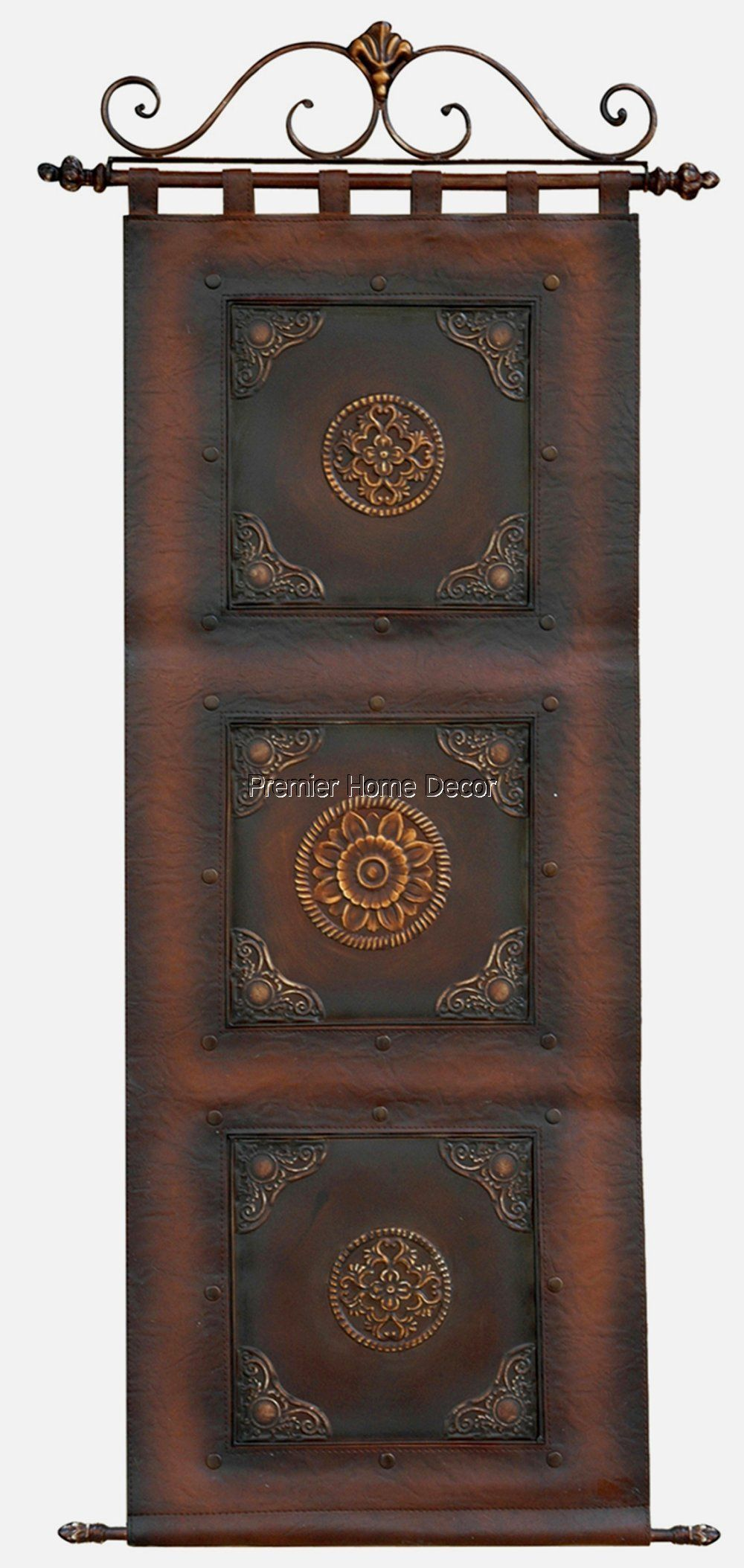 Old World Tuscan Leather Wall Hanging Scroll Topper Metal