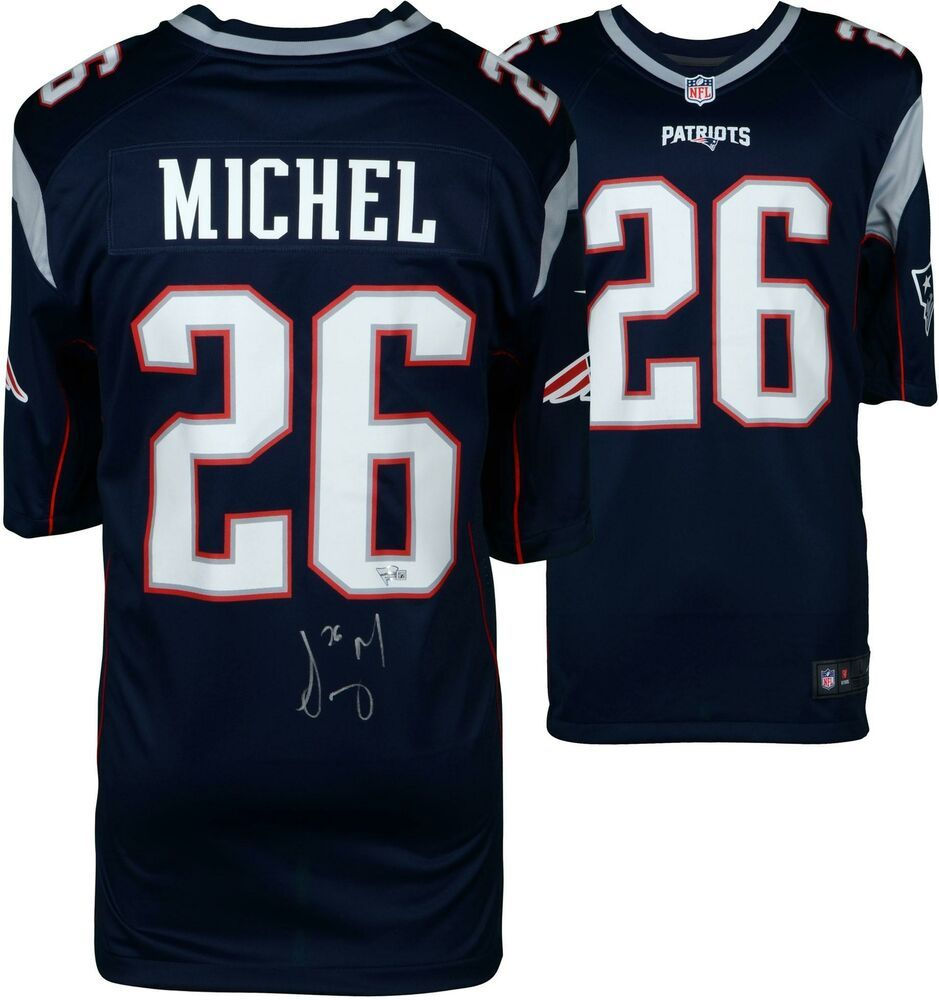 Sony Michel New England Patriots Autographed Nike Blue Game Jersey Sportsmemorabilia Autograph Football Blue Game New England Patriots Patriots