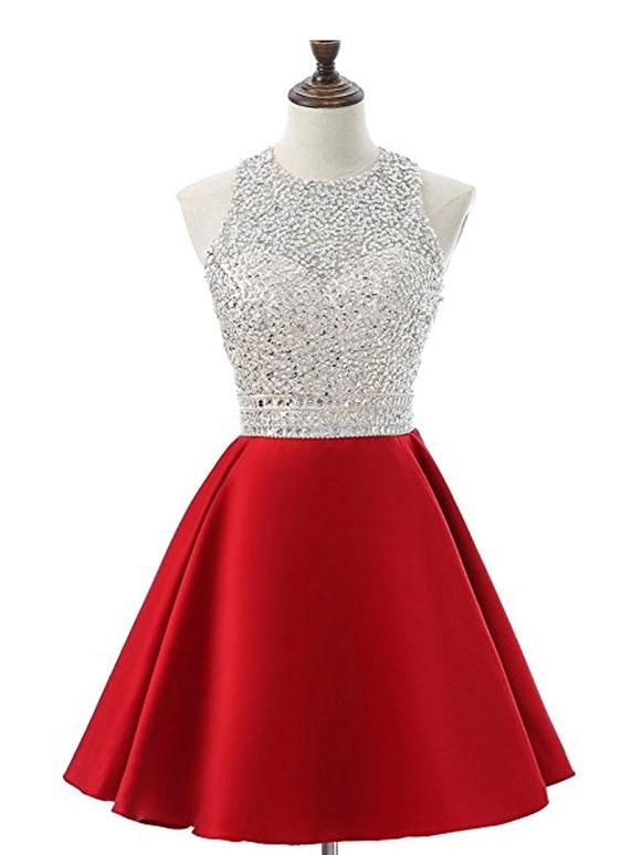 4d5440980f67 A-line Silver Beaded Top Red Satin Halter Homecoming Dresses APD2757 ...