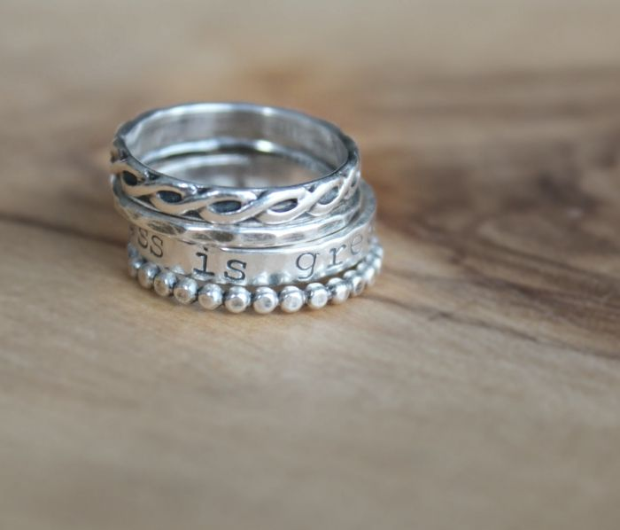 Personalized Silver 4 Ring Designer Infinity Stack | 2 Sisters Handcrafted | www.2sistershandcrafted.com