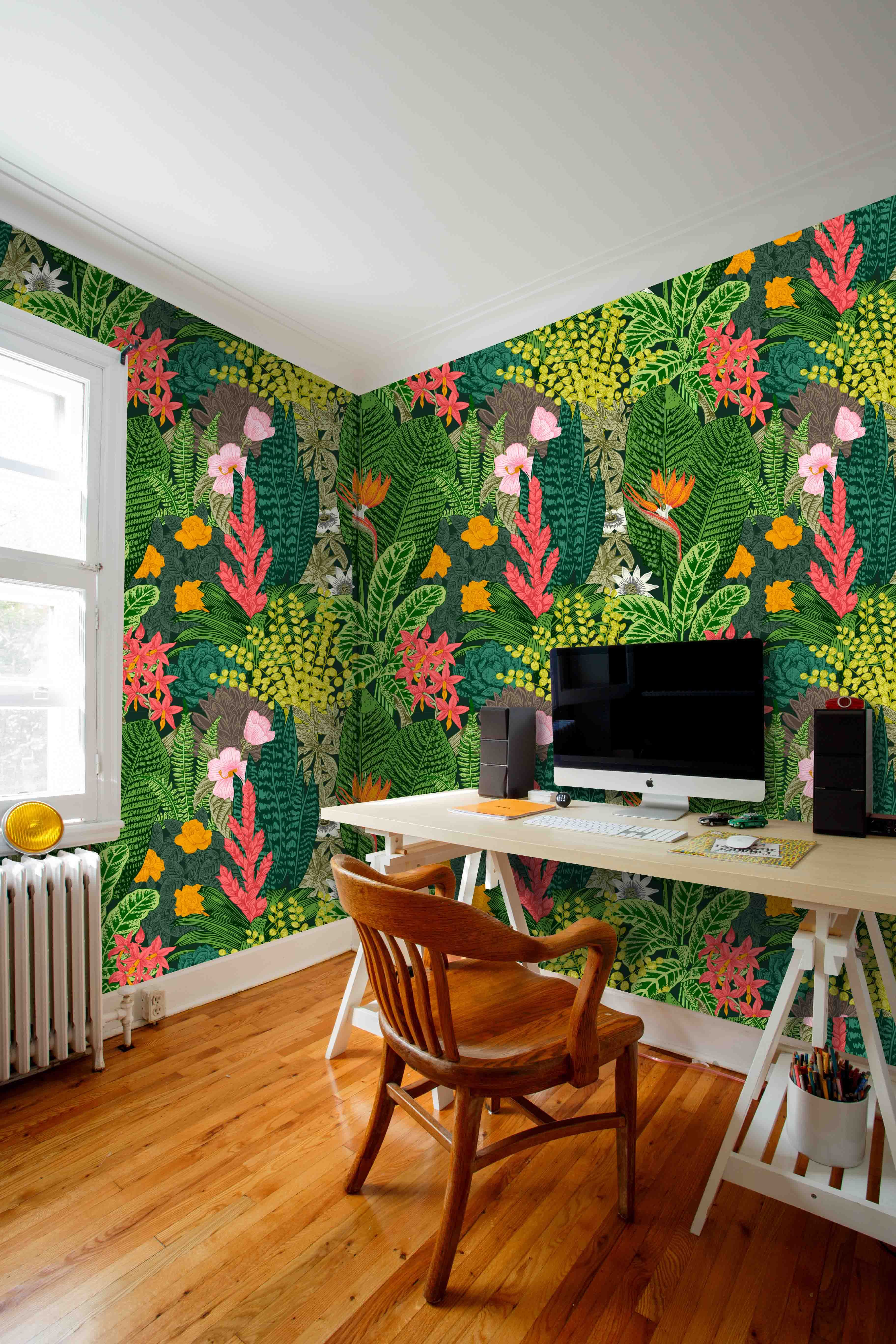 Tropical Theme Wallcovering Palms Mural Removable Self Etsy Wallpaper Tropical Home Wallpaper Removable Wallpaper How to measure how much wallpaper you