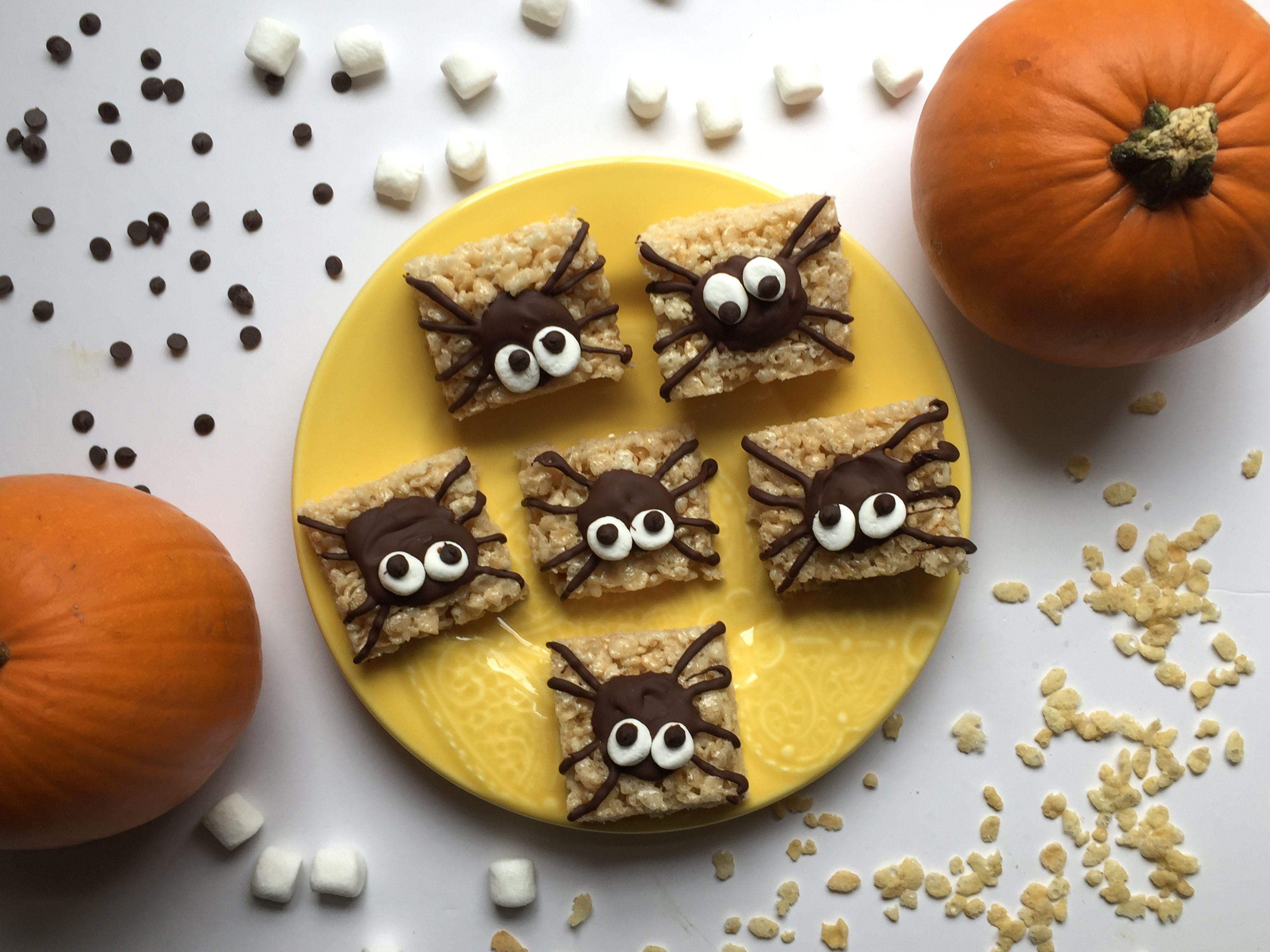 Spider Rice Krispie Treats | Easy Halloween Treats | Recipe | Easy ...