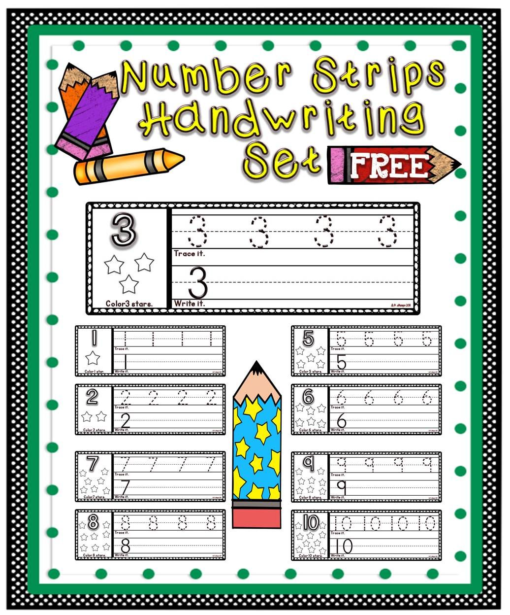 Number Strips Handwriting Set Free