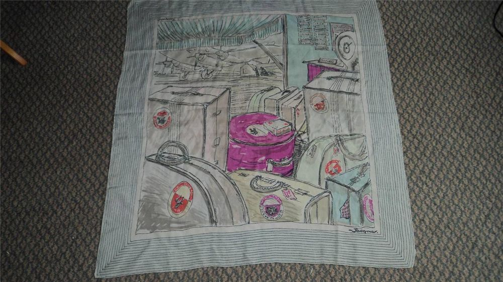 Vintage Retro 1940 s Rare Large Jacqmar Airport Travel Print Pure Silk Scarf £42.00 (1B)