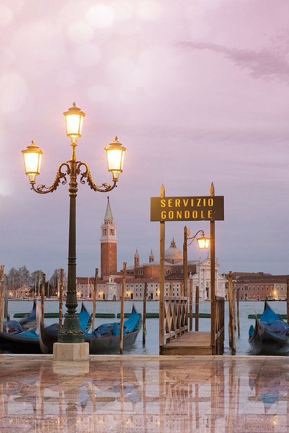 Photo of Venice photography twilight in Venice, gondolas on St. Mark's Square, wall decor, Italy travel photography