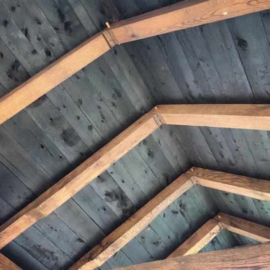 Charred Yakisugi Cedar Roof Decking Cedar Roof Timber Frame Pavilion Timber Framing