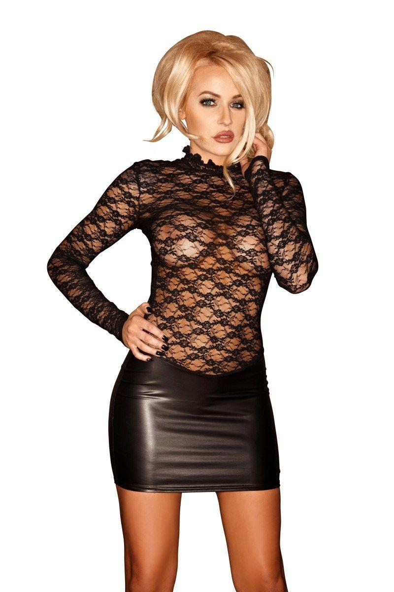 81071c5449 F062 schwarzes Wetlook Minikleid von Noir Handmade | GoGo & Clubwear ...