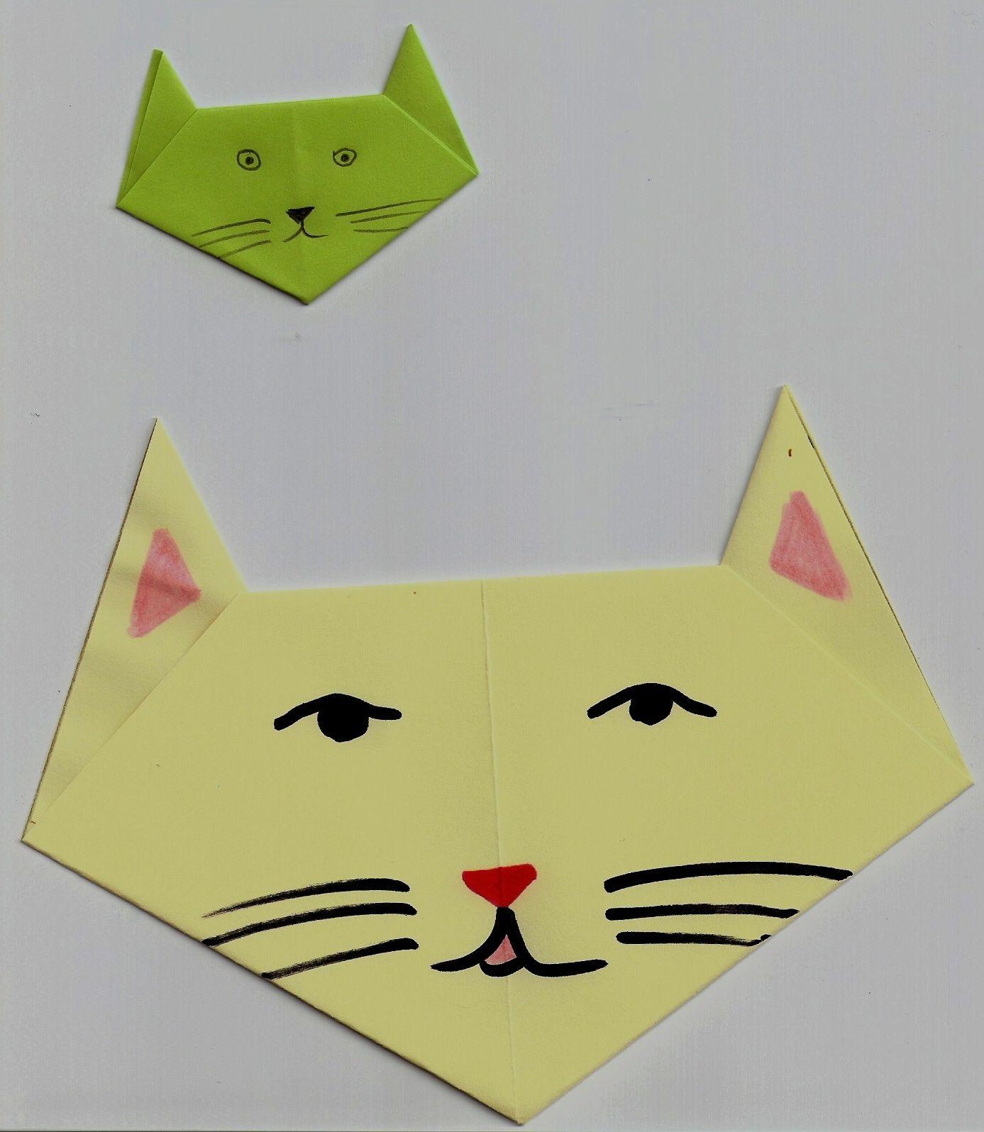 origami t te de chat arts visuels pinterest. Black Bedroom Furniture Sets. Home Design Ideas