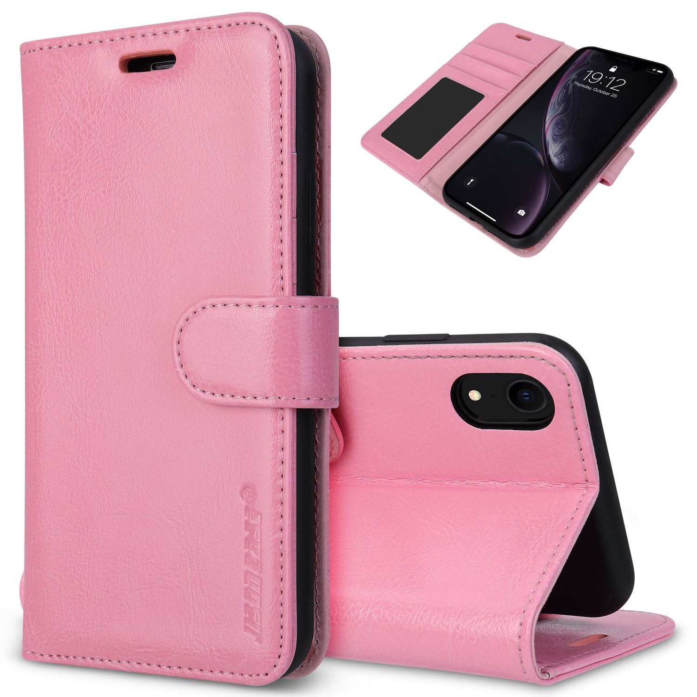Folio wallet case for iphone xr pink colour wallet case