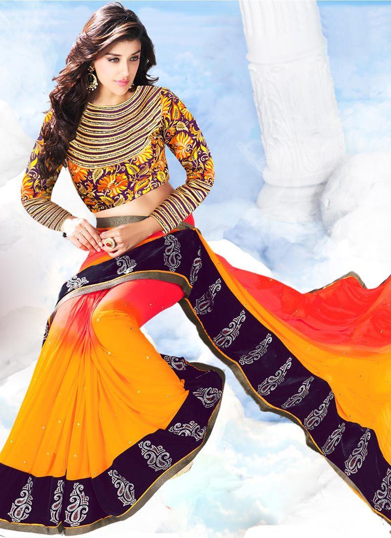 Saree blouse design for chiffon saree red n orange chiffon saree  things to wear  pinterest  chiffon