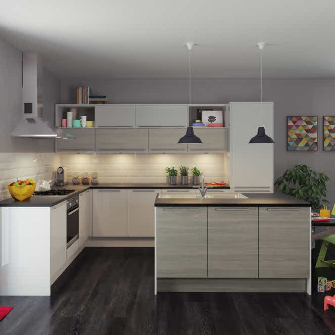 Viva Grey Fitted Kitchen By Magnet Greykitchens Island Mini - Grey fitted kitchens