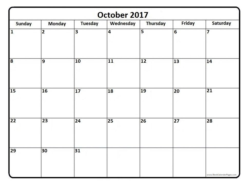 October 2017 printable calendar page It Works Pinterest - sample calendar template