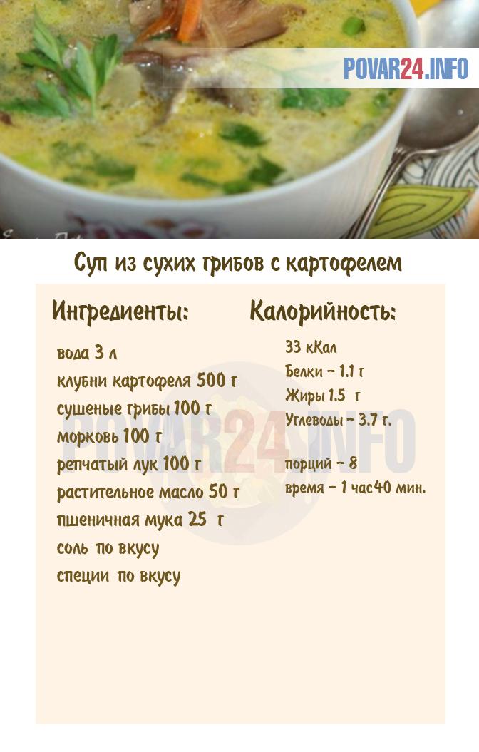 Суп из сухих грибов с картошкой - как сварить, рецепт с ...