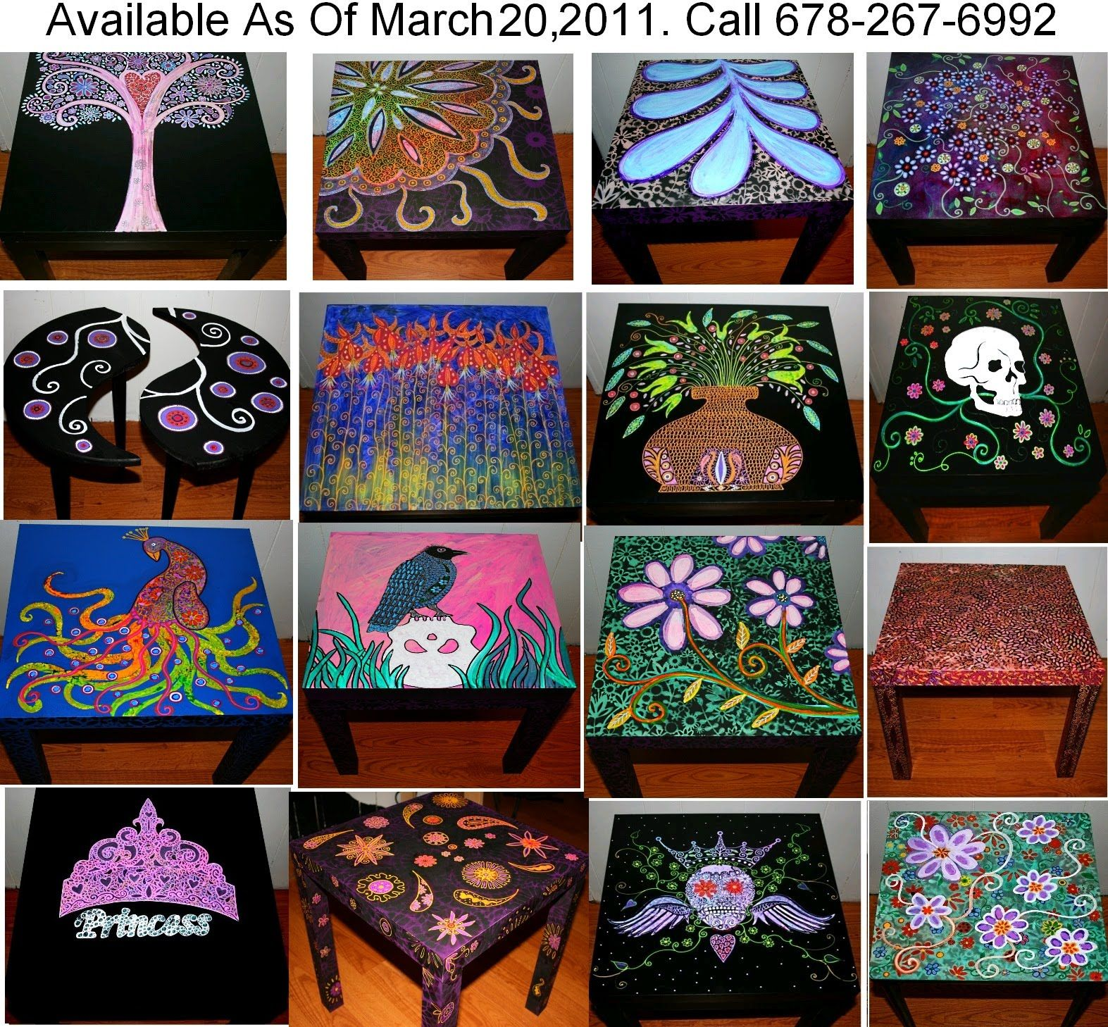 Painted Furniture Ideas Funky Home Decor  Hand Painted Coffee  Tables Nightstands All One. Funky Home Decor  Hand Painted Coffee Tables Nightstands  All One