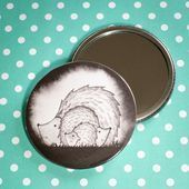 Photo of Hedgehog Family design pocket mirror with linen bag – Ideal stocking filler or s …