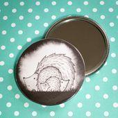 Photo of Hedgehog Family design pocket mirror with linen bag – Ideal stocking filler or s …